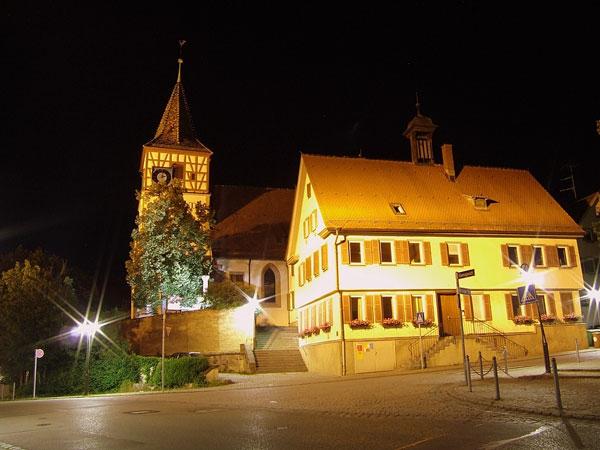 Das historische Ensemble bei Nacht