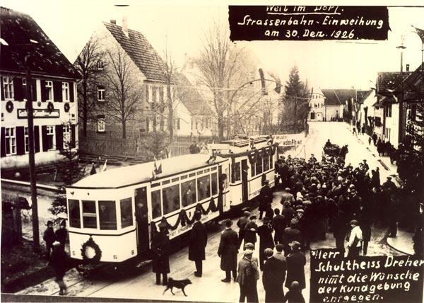 Die erste Straßenbahn bei der Seestraße (30.12.1926)