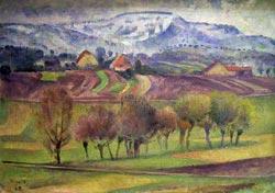 """""""Engelberg im Schnee"""" (1929, oben) und Fresken an der Stuttgarter Markthalle (1915, unten) sind nur zwei der vielen Werke Grefs"""