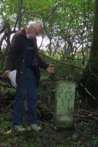 Grenzstein mit Inschrift CSV ST für das Kameralamt Stammheim