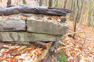 Entfernung einiger historischer Grenzsteine und deren widerrechtlicher Nutzung als Material für den Bau eines Hindernisparcours.